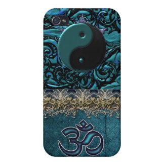 TurkosBrocade med symboler och metallisk klippning iPhone 4 Cover