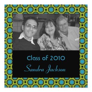turkosgrönt cirklar studenten fyrkantigt 13,3 cm inbjudningskort
