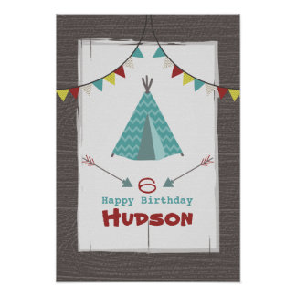 TurkosTipi som campar födelsedagaffischen Poster