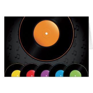 Turntablerekord i livliga färger hälsningskort