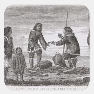 Tuski och Mahlemuts handel för olja Fyrkantigt Klistermärke