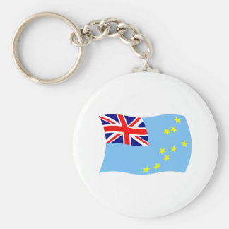 Tuvalu flagga Keychain Rund Nyckelring