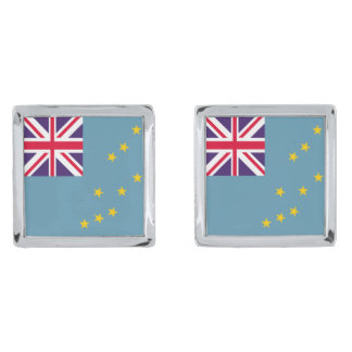 Tuvalu flagga silverpläterade manschetterknappar