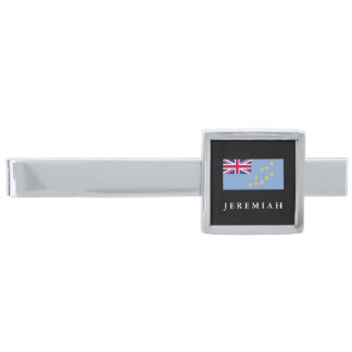 Tuvalu flagga slipsnål med silverfinish