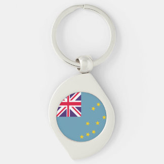 Tuvalu flagga swirl silverfärgad nyckelring