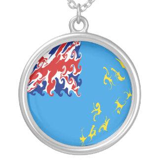 Tuvalu Gnarly flagga Halsband Med Rund Hängsmycke