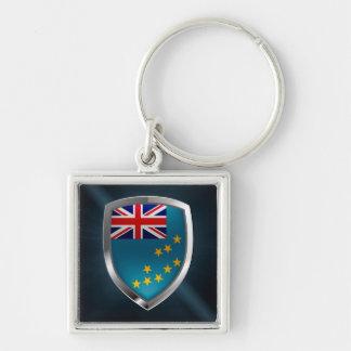 Tuvalu metallisk Emblem Fyrkantig Silverfärgad Nyckelring