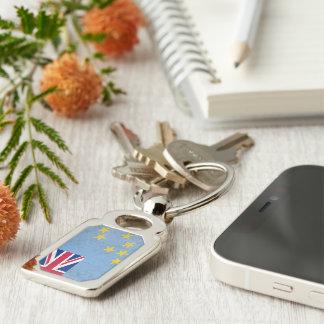 Tuvalu Rektangulärt Silverfärgad Nyckelring