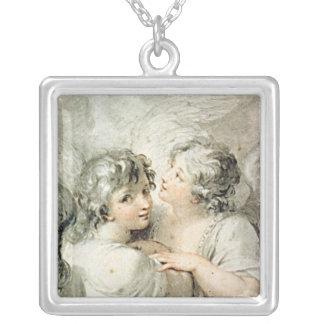 Två änglar, 18th århundrade silverpläterat halsband