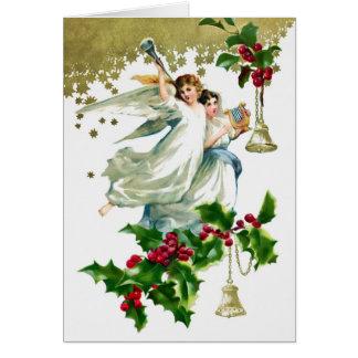 Två änglar med Klockor jul Hälsningskort