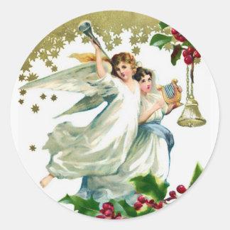 Två änglar med Klockor jul Runt Klistermärke