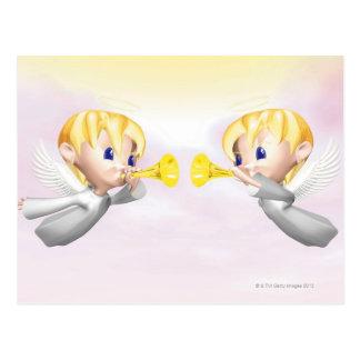 Två änglar som blåser horns, CG, 3D, illustration, Vykort