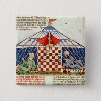 Två arabs som leker schack i ett tält standard kanpp fyrkantig 5.1 cm