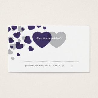 Två av hjärtaeskortkortet - plommon & grått visitkort