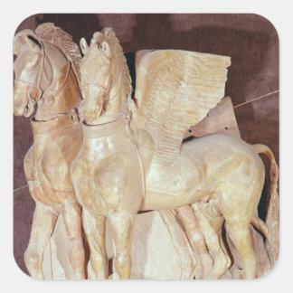 Två bevingada hästar från pedimenten av a fyrkantigt klistermärke
