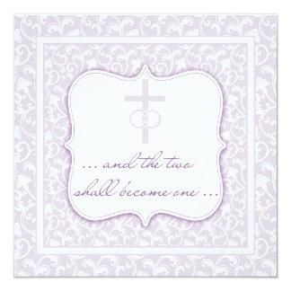 Två blir en kristen brölloplavendel fyrkantigt 13,3 cm inbjudningskort
