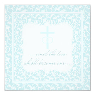 Två blir en kristna bröllopAquablått Fyrkantigt 13,3 Cm Inbjudningskort
