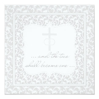 Två blir ett kristet bröllopsilver fyrkantigt 13,3 cm inbjudningskort