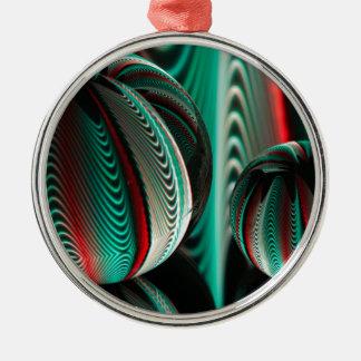 Två bollreflexioner i glass bollar julgransprydnad metall