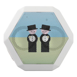 Två brudgummar vit bluetooth högtalare