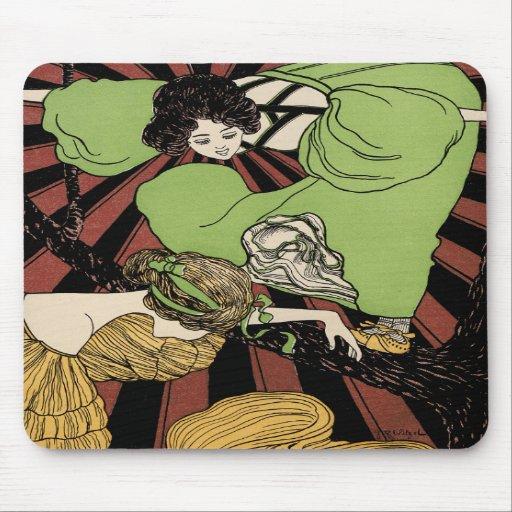 Två flickor - art nouveau - Jugendstil Mus Mattor