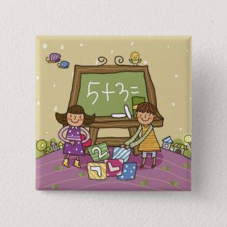 Två flickor som framme står av en blackboard standard kanpp fyrkantig 5.1 cm