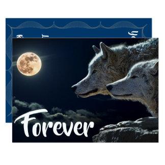 Två grå färgvarg- & fullmånebröllop 12,7 x 17,8 cm inbjudningskort