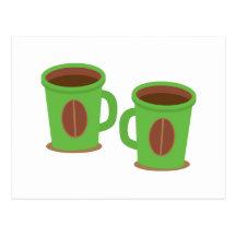 Två gröna kaffemuggar vykort