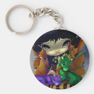"""Två gulliga Dragonlings"" Keychain Rund Nyckelring"