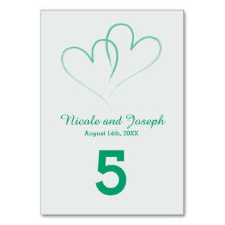 Två hjärtor flätade samman bordsnumret - Mint Bordsnummer