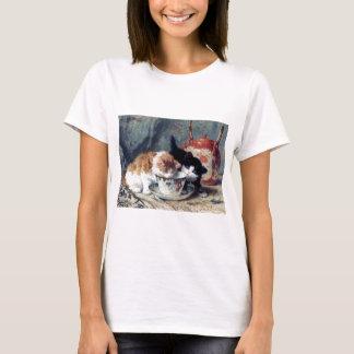 Två kattungar som har teapartyet tröjor