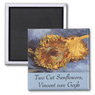 Två klippta solrosor av Vincent Van Gogh Magnet