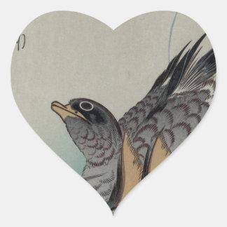 Två Mandarinankor vid Hiroshige Hjärtformat Klistermärke