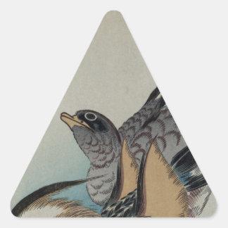 Två Mandarinankor vid Hiroshige Triangelformat Klistermärke