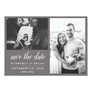 Två moderna spara för foto som datera skrivar 12,7 x 17,8 cm inbjudningskort