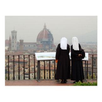 Två nunnor, Florence, italien Vykort