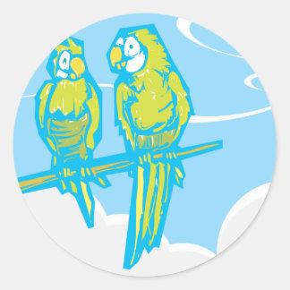 Två papegojor klistermärke
