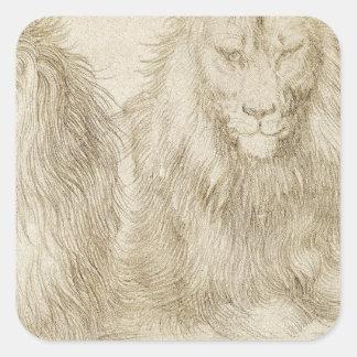 Två placerade lejon av Albrecht Durer Fyrkantigt Klistermärke