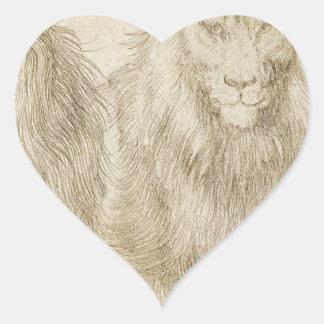 Två placerade lejon av Albrecht Durer Hjärtformat Klistermärke
