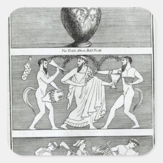 Två platser från en Etruscan vas Fyrkantigt Klistermärke