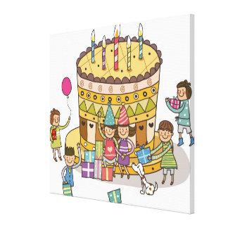 Två pojkar och tre flickor i en födelsedagsfest canvastryck