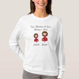 Två resonerar mig älskar att vara en mamma t shirt