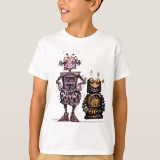 Två roliga barnrobotar tee shirts