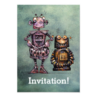 Två roliga robotar! 12,7 x 17,8 cm inbjudningskort