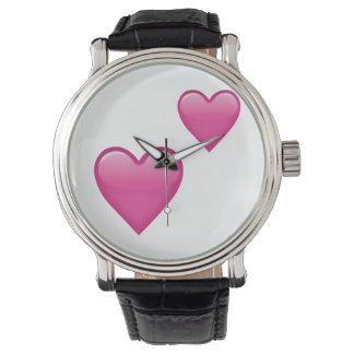 Två rosa hjärtor - Emoji Armbandsur