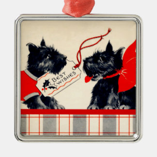 Två Scottiehundar, svart skotsk Terrierprydnad Julgransprydnad Metall