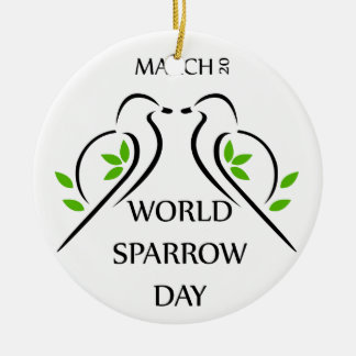 Två sparrows fattar på mars 20 för julgransprydnad keramik