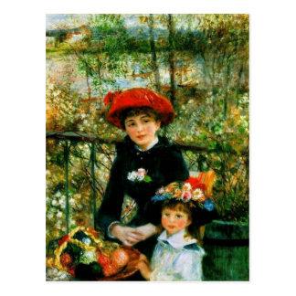 Två systrar (på terrassen) vid Pierre Renoir Vykort