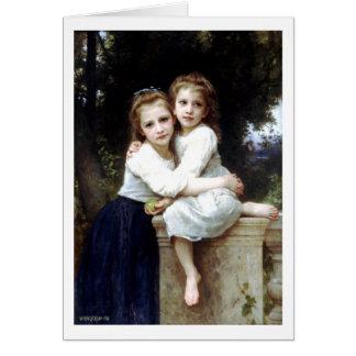 Två systrar som målar vid William-Adolphe Hälsningskort