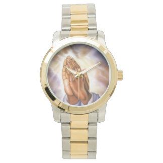 Två-Tona att be händerklockan Armbandsur